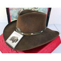 96085dfc731 Stetson Cowboy Hat 4X Buffalo Fur Felt Sawtooth Mink