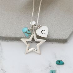 Personalise this gorgeous shiny sterling silver star pendant necklace with her initial and turquoise birthstone charms to create a unique keepsake gift for her. Birthstone Charms, Birthstone Necklace, Star Necklace, Pendant Necklace, Turquoise Birthstone, Turquoise Jewellery, December Birthday, Silver Christmas, Pearl Stud Earrings