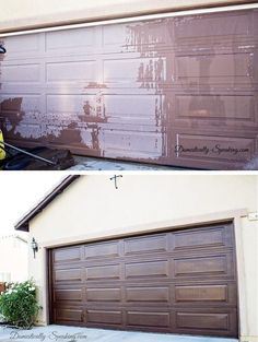 A can of gel stain costs only $17.73 (get one here or at your hardware store), and applying it takes only a few hours of work. Then your garage door looks brand new! Here's how to do it.