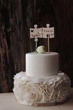 Wood Puzzle Piece Cake Topper  Wedding Cake by FIREArtbykatrin