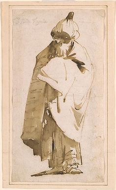 Giovanni Battista Tiepolo Bearded Man in Turban and Cloak, Watercolor Paintings Abstract, Ink Painting, Watercolor Trees, Watercolor Portraits, Watercolor Landscape, Dark Drawings, Ink Pen Drawings, Storyboard, Sketch Poses