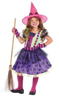 A Very Colorful Looking Witch Costume That Will Make Your Own Little Spell-Caster Very Happy! Dress With Classic Halloween Print Purple Skirt And Glitter Tulle Accent, Attached Kitty Tail, Striped Gloves And Matching Pink Hat With Adorable Kitty Ears. Little Girl Costumes, Toddler Costumes, Snow White Halloween Costume, Halloween Costumes For Kids, Toddler Halloween, Halloween 2018, Funny Halloween, Spirit Halloween, Happy Halloween
