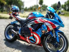 Captain America Motorcycle… beauty on two wheels. Captain America Motorcycle… beauty on two wheels. Street Bikes, Captain America Motorcycle, Course Moto, Side Car, Custom Sport Bikes, Gsxr 1000, Moto Bike, Cool Motorcycles, Triumph Motorcycles