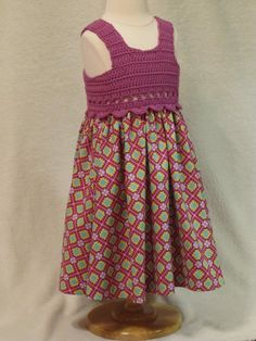 Baby dress with crochet bodice magenta and by FeathersnFrocks