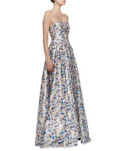 Dreema Strapless Printed Floral Gown by Alice + Olivia at Bergdorf Goodman.