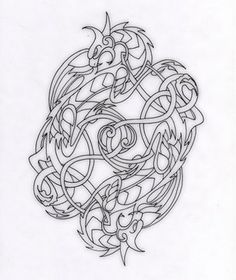 Image detail for -Celtic Dragons by ~Schawahr on deviantART Colouring Pages, Adult Coloring Pages, Coloring Books, Celtic Symbols, Celtic Art, Celtic Knots, Celtic Patterns, Celtic Designs, Dragon Occidental