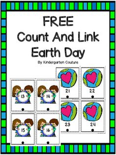 This is a sample set of my count and link cards.  This product has 2 sets of cards.  1-20 and 21-40. (Full sets have 5 sets ranging to 100) Print the cards on card stock, laminate and cut apart. Hole punch at the bottom of the card. Students will practice number recognition, counting and using their fine motor skills with this math center.