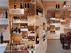The classy wine shop Albert Reichmuth also may be one of the greenest with a pixelated interior made from reused wine boxes.