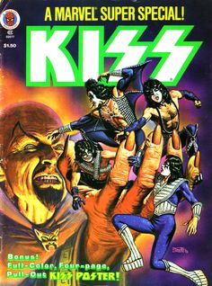 Marvel Super Special Pencils: Bob Larkin Inks: Bob Larkin Back Cover: KISS (Gene Simmons, Paul Stanley, Ace Frehley, Peter Criss) Marvel Kiss Band, Kiss Rock Bands, Paul Stanley, Gene Simmons, Marvel Comic Books, Comic Books Art, Book Art, Eric Singer, Banda Kiss