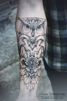 Forearm Tattoo with Owl Design. More via http://forcreativejuice.com/attractive-owl-tattoo-ideas/