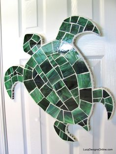 Stained Glass and Seashell Mosaic Sea Creatures - Octopus, Seahorse and Sea Turtles