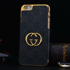 GUCCI iPhone 6 Plus Case Cover with Golden Frame Black