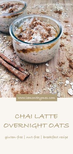 Chai Latte Overnight Oats - they are a quick and healthy breakfast option with 11 simple ingredients. If you are a chai latte addict - this recipe is for you! #chailatte #overnightoats #breakfast #easyrecipes #glutenfree #nutfree | lemonthymes.com