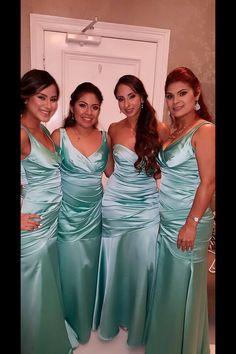 Bridesmaids tiffany blue dresses