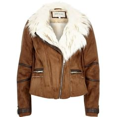 River Island Tan brown faux suede fitted biker jacket ($65) ❤ liked on Polyvore featuring outerwear, jackets, coats, river island, coats / jackets, sale, tan, women, faux suede moto jacket and moto jacket