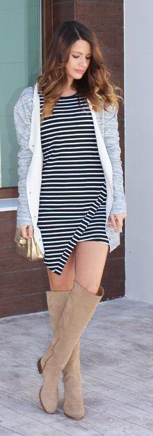 Pointed Hem Striped Little Dress
