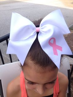 Breast Cancer Awareness Ribbon Cheer Bow by BigTopBowtique on Etsy