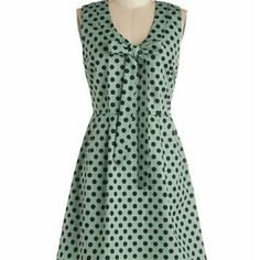 Save the Dot Dress - Modcloth Worn a couple of times. Runs big for an XS. Brand is Tulle. Waist is 14.5 flat. Color is mint green. Fully lined. Excellent like new condition. Side zipper. ModCloth Dresses