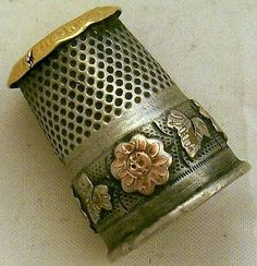 Vintage Thimble - Silver, Copper and Gold Color Embelished.