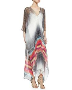 Charlie Jade Printed Silk Caftan Maxi Dress