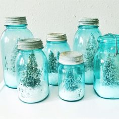 Likes, 51 Comments - Kelli+Kristi Snow Globe Mason Jar, Ball Mason Jars, Dining Room Table Runner, Snow Decorations, Christmas Jars, Christmas Crafts, Vintage Christmas, Turquoise Christmas, Fake Snow