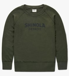 A classic sweatshirt featuring a Shinola Detroit logo on the chest. This women's raglan sleeve knit pullover is an athletic silhouette in a feminine fit. With full knit body, ribbed crew neck, cuffs and hem in a 100% cotton French terry with diagonal loopback. Ideal for year-round comfort and style. Designed in our Detroit studio and produced in Southern California.