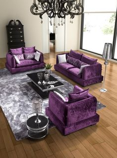 Purple Living Room ~ Oh my, yes pleaseeeeeeee I have a purple three piece suite and a purple sheep skin rug in my beautiful living room x pure BLISS
