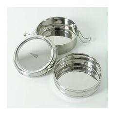 Ronde RVS lunchcontainer met 2 lagen. - Kitchenhugs