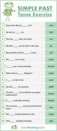 Simple Past Tense Exercises - ExamPlanning % Easy English Grammar, English Grammar Exercises, English Grammar Tenses, English Grammar Worksheets, English Words, English Lessons, Teaching English, Learn English, Posture Correction Exercises