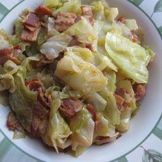 Southern-Style Cabbage Recipe ~ cabbage, bacon, onion, 1/2 cup water and salt, see link for complete recipe ~