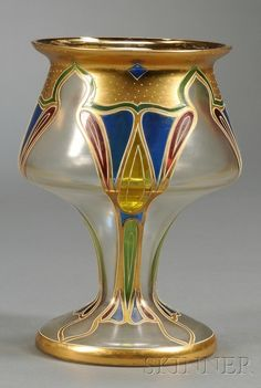 Art Nouveau Enameled Art Glass Vase Enameled glass Possibly Lobmeyer, Austria, late 19th century