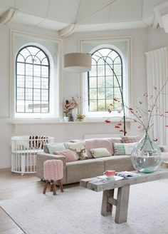 Large Living Room - Fabulous Feminine Scandinvian Style In A Remodelled Church