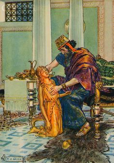 Illustration of King Midas Seeing Daughter Turning into Gold by C. Brock Original caption:King Midas sees his daughter turned to gold. Golden Princess, King Midas, Romulus And Remus, A4 Poster, Posters, Figurative Art, Greek Mythology, Art History, Vector Art
