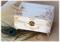 Shabby chic wedding box:Jewelry keepsake box, treasury, card holder, White and gold Card Box, Wooden treasury box.
