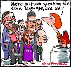Julia Gillard Asian Century white paper who will pay for teaching Asian languages states premiers not happy cartoon (30 October 2012)