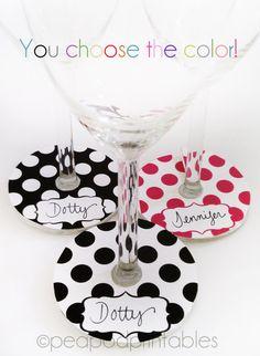 Printable Polka Dot Wine Glass Markers Tags by PeaPodPrintables, $4.00