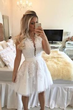 A-line Hot-selling Deep V-Neck White Lace Short Homecoming Dresses PM468 #homecomingdresses