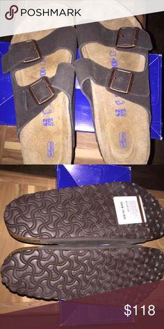 Brand New Men's Birkenstock Arizona Sandals New in box, box missing top. Color is mocha suede. Size is 42 (men's 9-9.5). Birkenstock Shoes Sandals & Flip-Flops