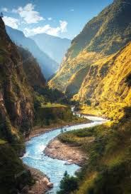 Amazing landscape with high Himalayan mountains, river by den-belitsky on PhotoDune. Amazing landscape with high Himalayan mountains, beautiful curving river, green forest, blue sky with clouds and yell. Valley River, Waterfall Fountain, Sky And Clouds, Mountain Landscape, Photo Reference, Himalayan, Countries Of The World, Landscape Photos, Amazing Nature