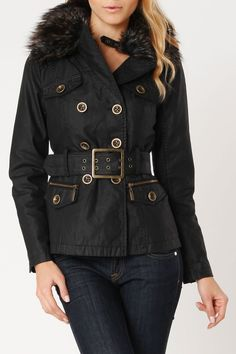Blanc Noir Waxy Canvas Trench In Black - Beyond the Rack