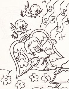 from an Angels coloring book - girl angel singing with birds in the clouds