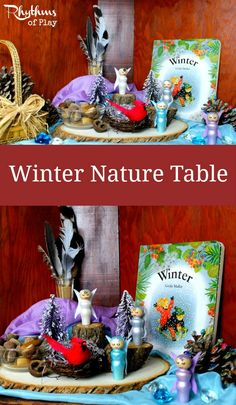 A winter nature table is a space dedicated to placing objects that reflect the season. It is meant to be played with, used as a learning aid, and enjoyed.