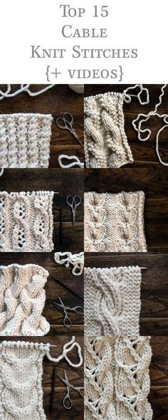 Top 15 Cable Knit Stitches eBook {+videos} Basic Knitting for Beginners So, you-ve decided it-s time Knitting Stiches, Easy Knitting, Loom Knitting, Knitting Patterns Free, Knit Stitches, Stitch Patterns, Crochet Patterns, Beginner Knitting, Vogue Knitting