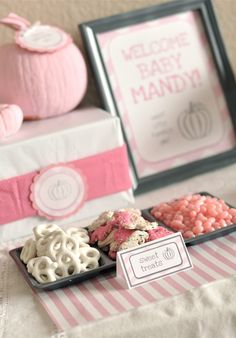 Little pumpkin baby shower for a girl or a boy - ideas to decorate and food to serve. printables available - pink and grey with chevron color scheme. super cute!