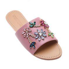 Cadiz Rhinestone Sandals Flats, Pink Sandals, Embellished Sandals, Mystique Sandals, Leather Sandals Flat, Pink Fashion, Cadiz, Designer Shoes, My Style