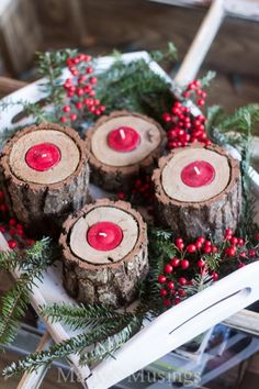 Rustic Wood Tea Light Candle Holders - Marty's Musings