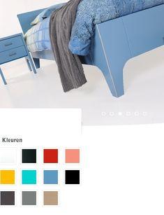 vroomshoop ledikant meddow Kleur:blauw Bed design:1-persoons,tweepersoons Kleur:alpine wit, karmijn rood, beige rood, signaal geel, stof grijs, loodgrijs, graphite, turquoise, pastel blauw, taupe,