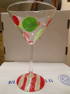 """Hand painted glassware from """"The Surfing Flamingo""""--see us on facebook"""