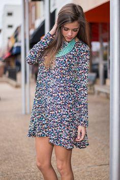 """Floral Fields Dress, Navy-Multi"""