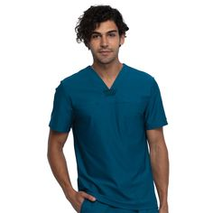 """This Mens V-neck scrub top has a inseam chest pocket and a front seam yoke. It features form contouring angled side back seams, a hidden power mesh insert at back flange for ventilation and underarm power mesh panels for added comfort and to keep you cool throughout your day. Center back length: 28"""" Mens Taper, Cherokee Scrubs, Mens Joggers, Scrub Pants, Pull On Pants, Scrub Tops, Keep Your Cool, V Neck Tops, Top Sales"""